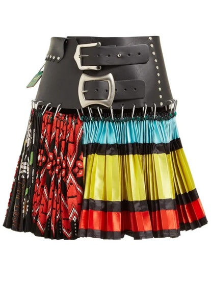Pleated Leather And Silk-Blend Mini Skirt