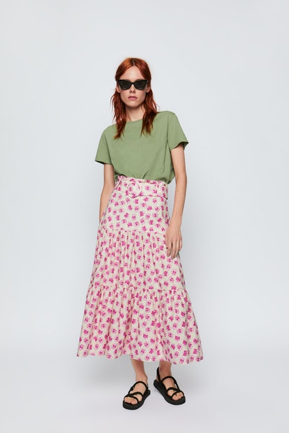 Belted Printed Midi Skirt