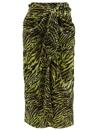 Knotted Zebra-Print Satin Midi Skirt