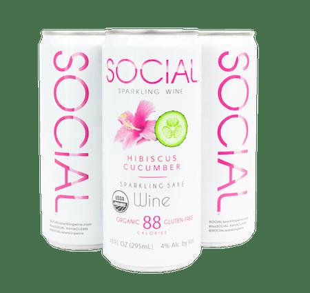 Social Hibiscus Cucumber Sparkling Sake Wine