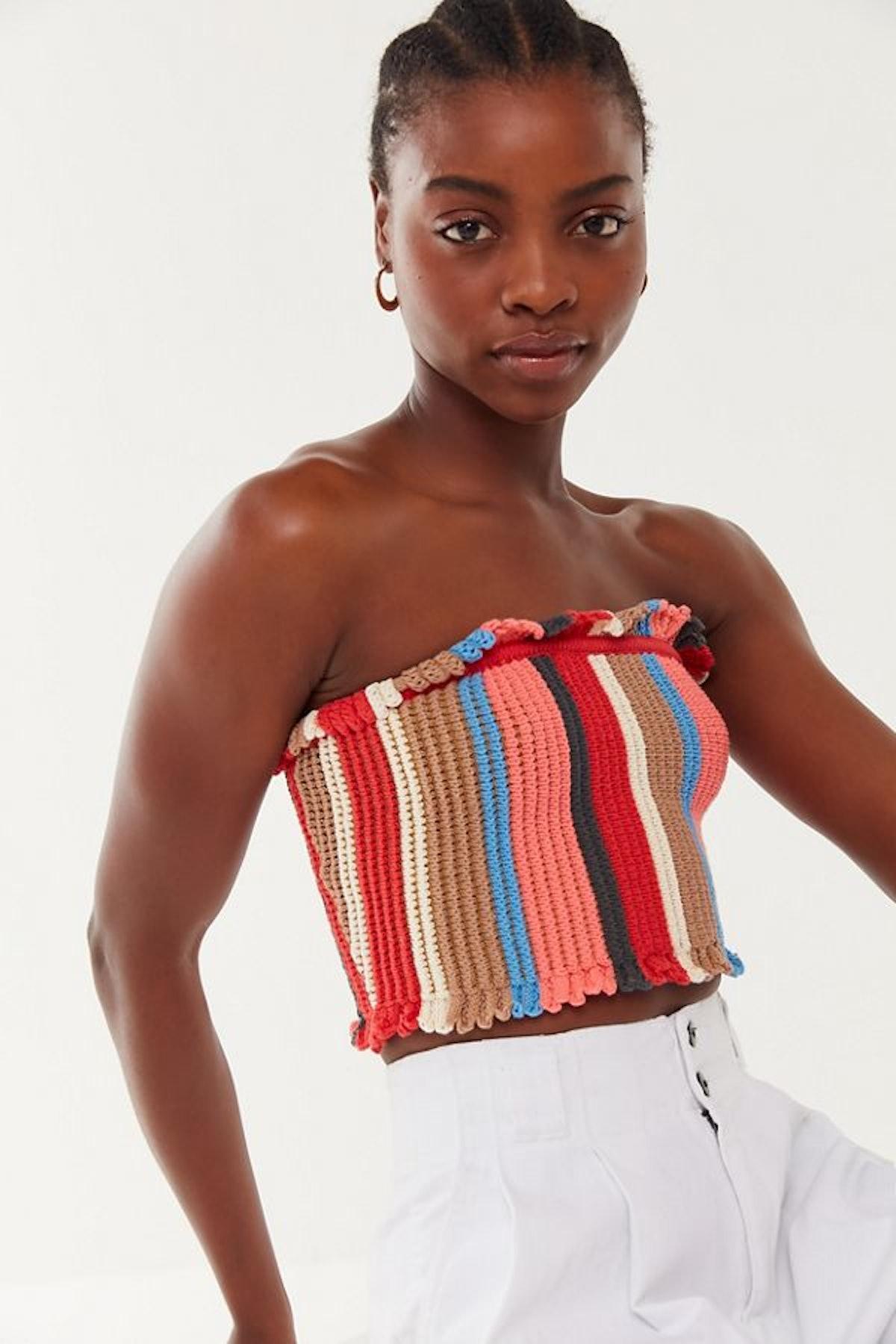 UO Tatiana Crochet Ruffle Cropped Tube Top