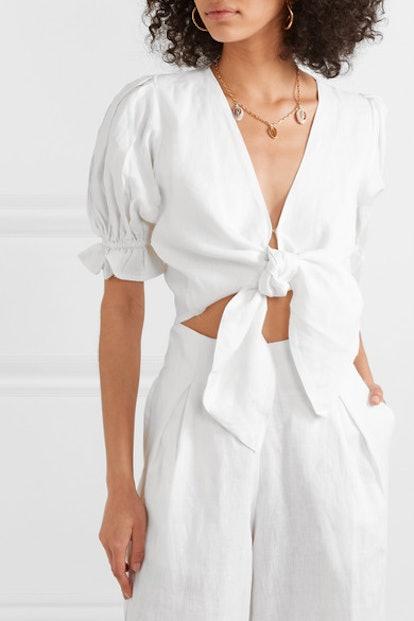 Jamais Cropped Tie-Front Linen Top