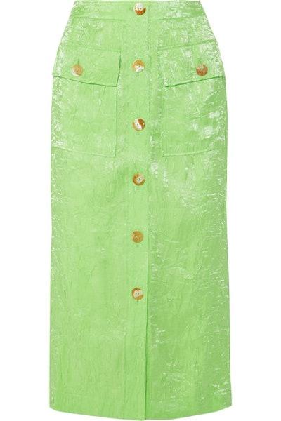 Lily Crinkled-Satin Midi Skirt