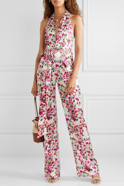Heyday Floral-print silk-satin halterneck jumpsuit