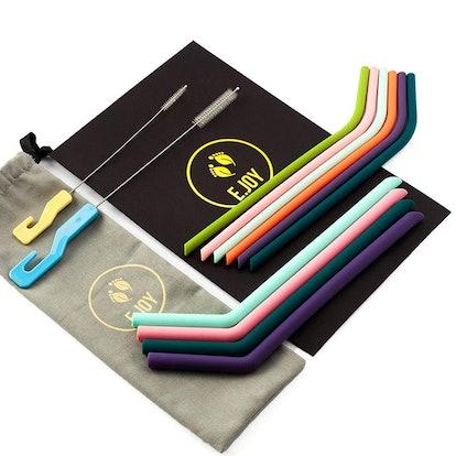 E.Joy Reusable Silicone Drinking Straws (10 Pack)