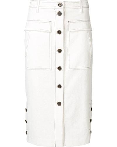 Front Button Pencil Skirt