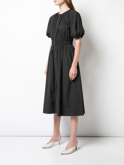 Stretch Cotton Poplin Bubble Sleeve Dress