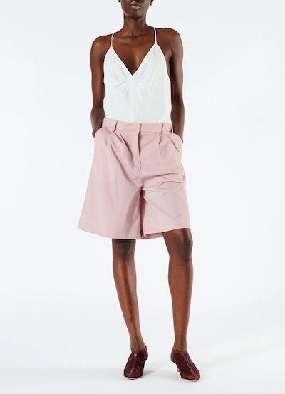 Cross Dye Wool Pleated Shorts