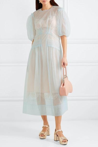 Pintucked Tulle Midi Dress