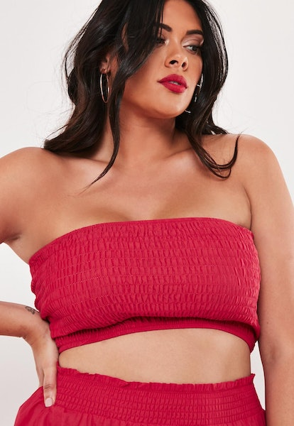 plus size red co ord shirred bandeau crop top
