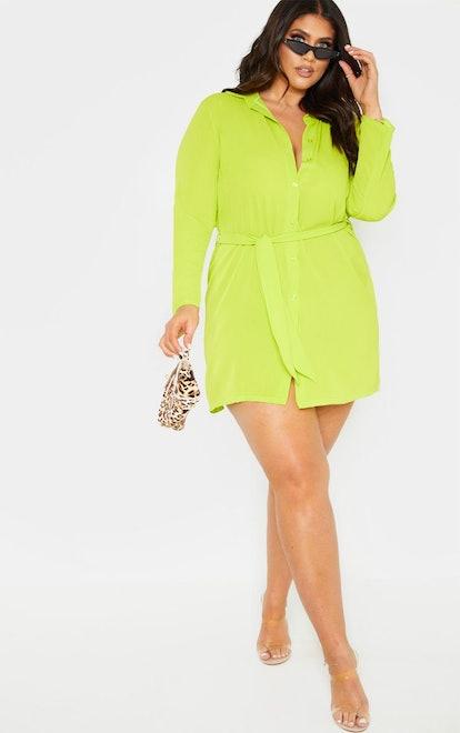 Plus Neon Lime Tie Waist Shirt Dress