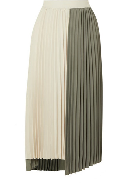 Tiffany Two-Tone Pleated Crepe Midi Skirt