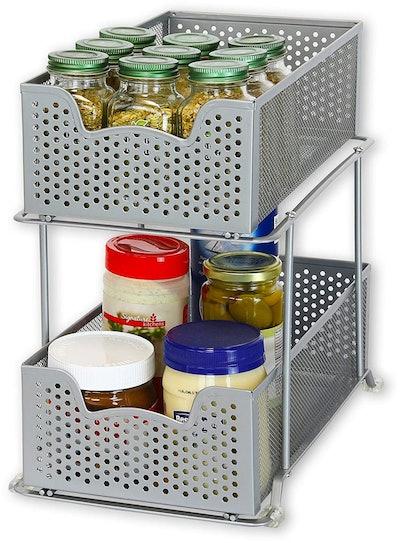 Simple Houseware 2 Tier Sliding Basket Organizer