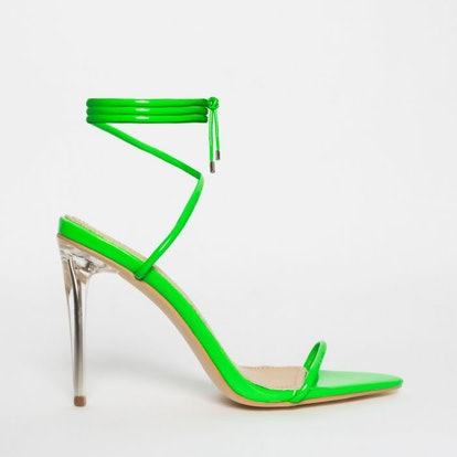 Gemini Green Patent Lace Up Clear Heels