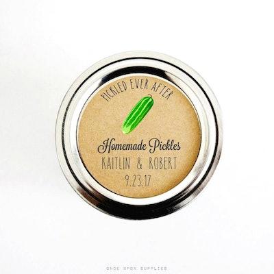 Pickled Ever After Homemade Pickles Labels for Wedding Favors