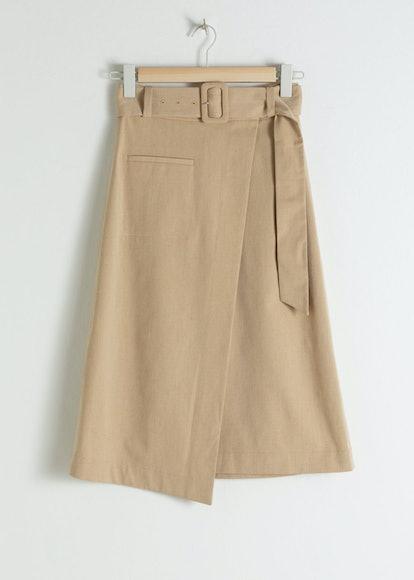 Belted Asymmetric Midi Skirt