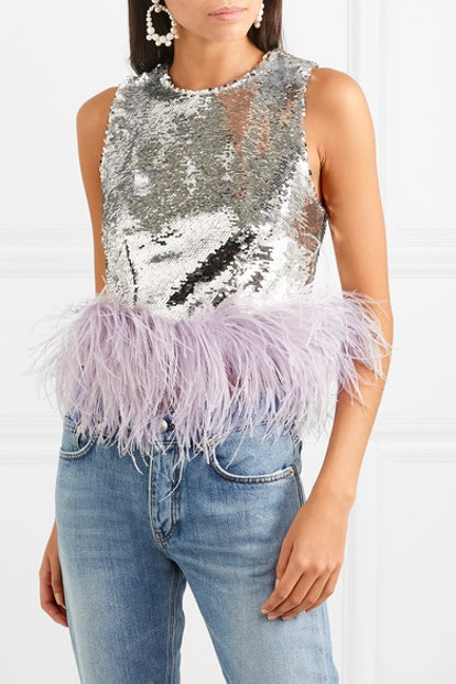 Feather-Trimmed Sequined Tulle Top