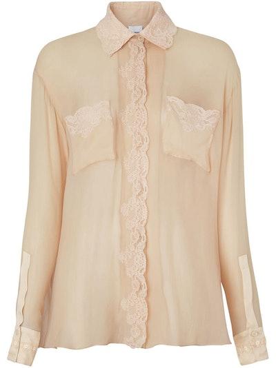Lace-Detail Silk Chiffon Shirt