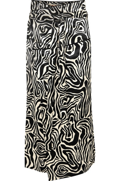 Zebra-Print Crepe Wrap Midi Skirt