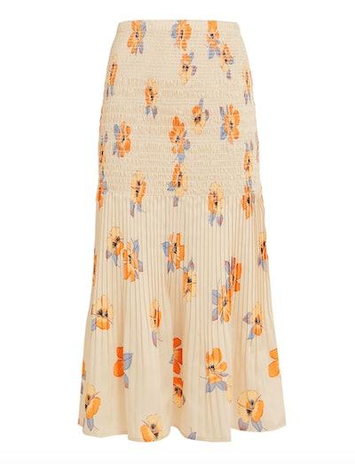 Smocked Floral Midi Skirt