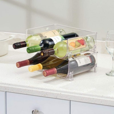 mDesign Modern Stackable Wine Bottle Stand (2 Pack)