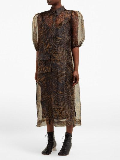 Tiger Print Organza Dress