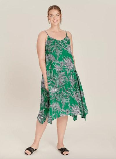 Green Paisley Print Hanky Hem Dress