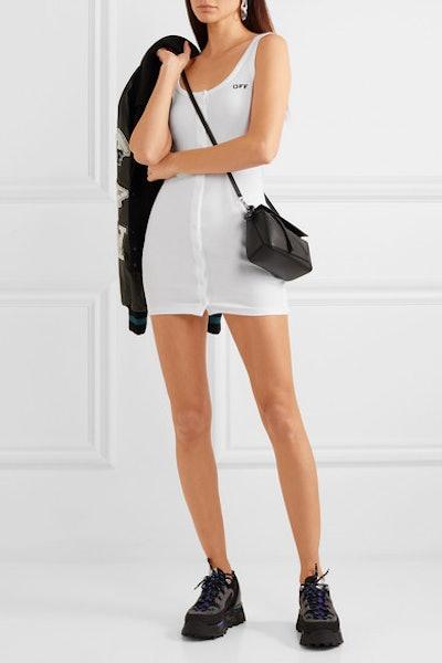 Printed Ribbed Stretch-Cotton Jersey Mini Dress