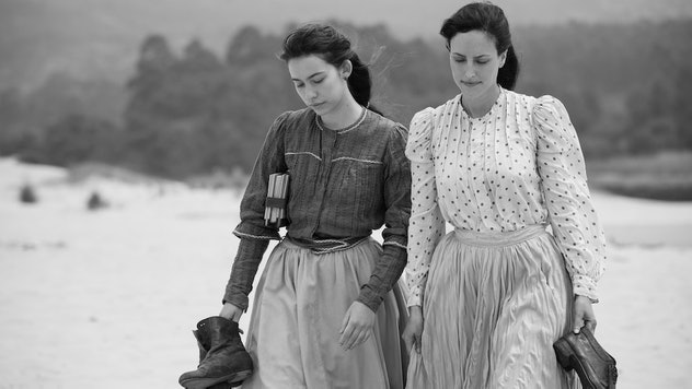 The women playing lovers Elisa Sánchez Loriga and Marcela Gracia Ibeas in a still from the film Elisa & Marcela.