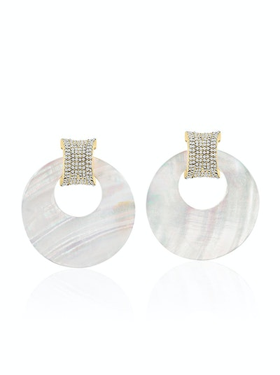 Ocean Drive Pavé Shell Hoop Earrings