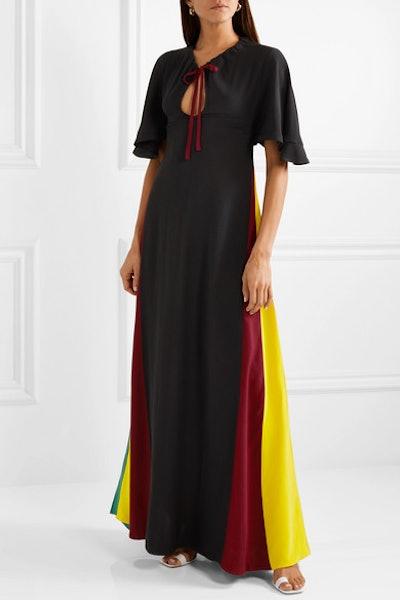 Color-Block Crepe Maxi Dress