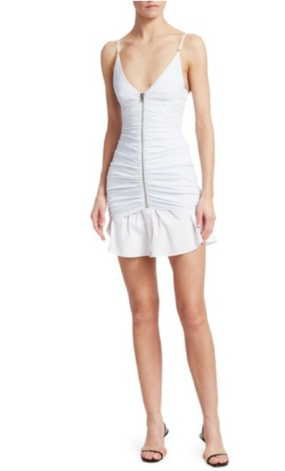 Ruched Zip Front Camisole Dress