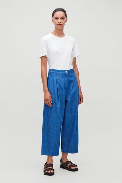 Curved Leg Denim Trousers
