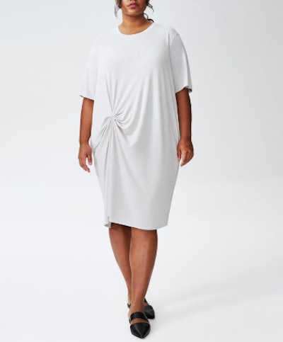 Monica Gathered Dress in Dove Gray