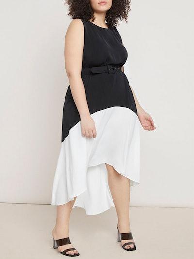 Colorblock High-Low Dress