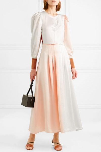 Steffy Color-Block Satin Maxi Dress