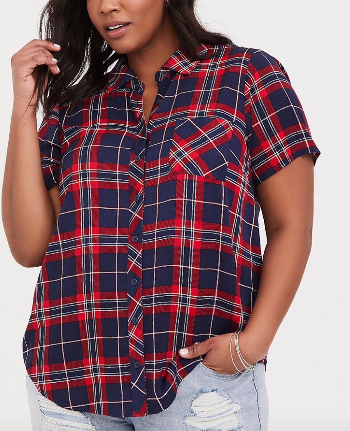 Red and Navy Plaid Challis Button-Down Shirt