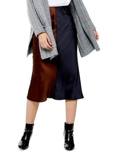 Colorblock Satin Midi Skirt