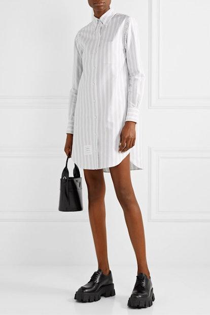 Striped Cotton Oxford Mini Dress