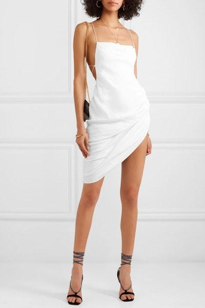 Open-Back Gathered Linen-Blend Mini Dress