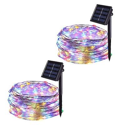 JMEXSUSS Solar Powered Waterproof String Lights (2-Pack)