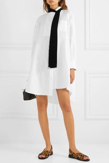 Oversized Velvet-Trimmed Poplin And Cotton-Piqué Dress