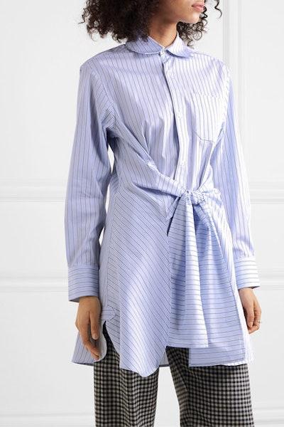 Wright Le Chapelain Knotted Striped Organic Cotton-Poplin Shirt