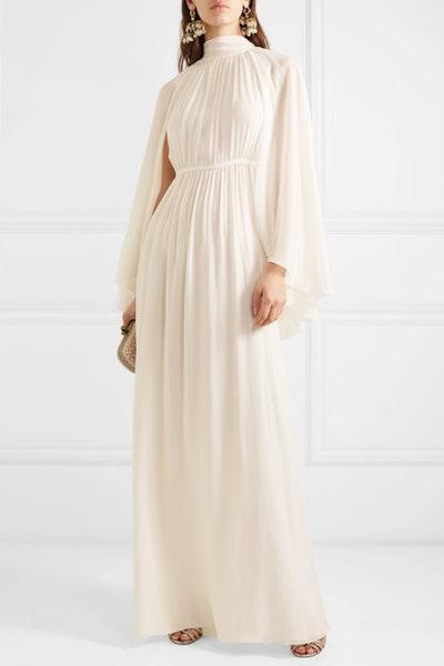 Cape-Effect Silk-Chiffon Gown