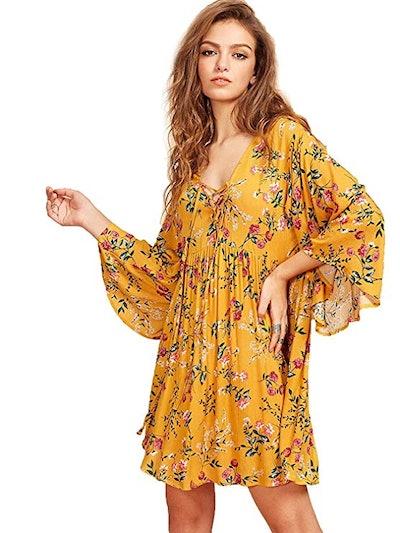 Milumia Floral Print Loose Mini Dress