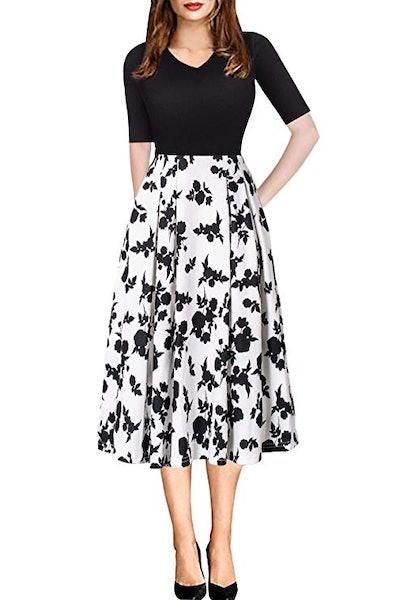ECOLIVZIT Vintage Midi Dress
