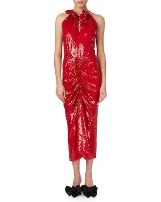 Hilo Ruched Sequin Halter Midi Dress