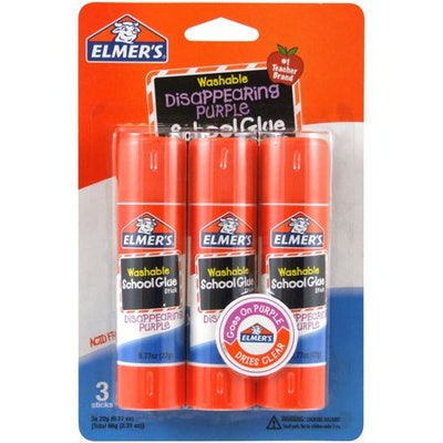 Elmer's Disappearing Purple Washable School Glue Sticks (3 pk)