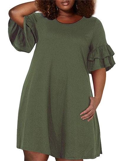 Nemidor Ruffle Sleeve Dress