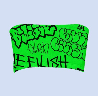 BILLIE EILISH X FREAK CITY GREEN GRAFFITI TUBE TOP + DIGITAL ALBUM